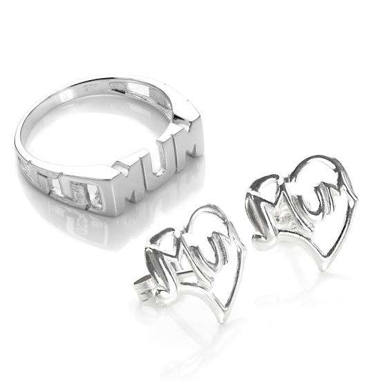 Sterling Silver Mum Ring & Earrings Set