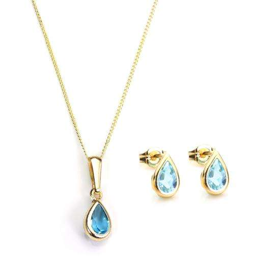 9ct Gold & November Birthstone Pendant & Stud Earrings Set