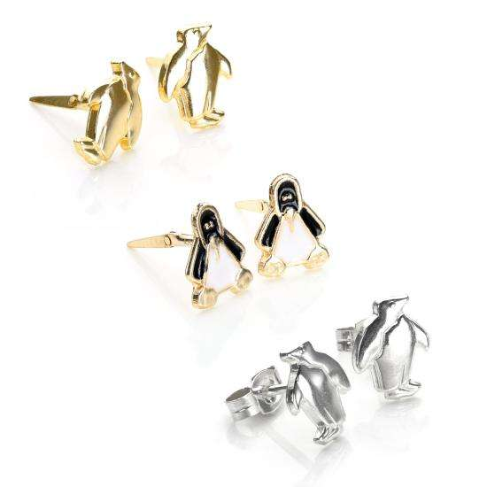 Sterling Silver & 9ct Gold Penguin Stud Earrings Set
