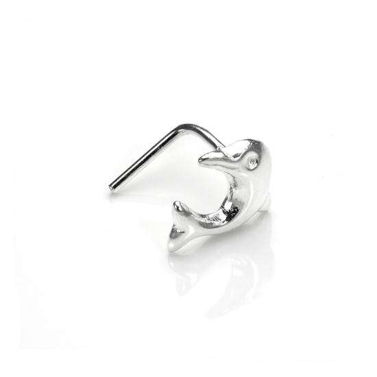 Sterling Silver Dolphin L-Shaped Nose Stud