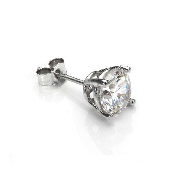 9ct White Gold Clear CZ 5mm Round Mens Stud Single Earring