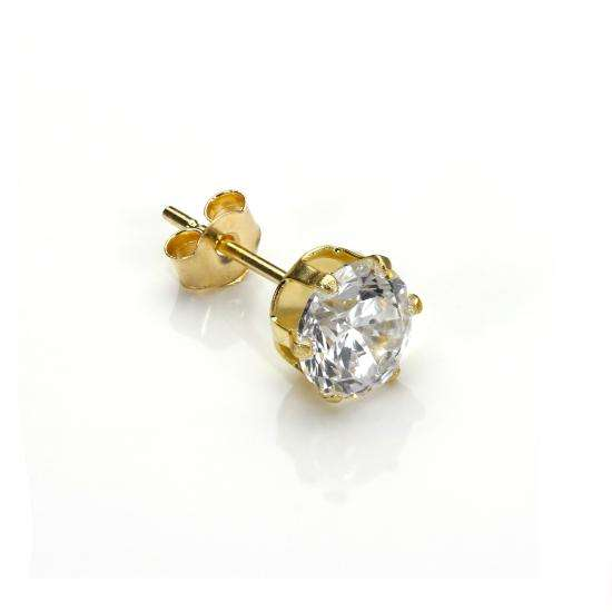 9ct Yellow Gold Clear CZ 5mm Mens Round Stud Single Earring