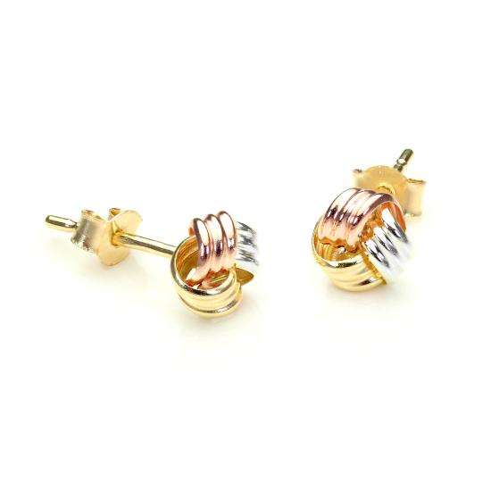 9ct Yellow, Rose & White Gold 6mm Knot Stud Earrings