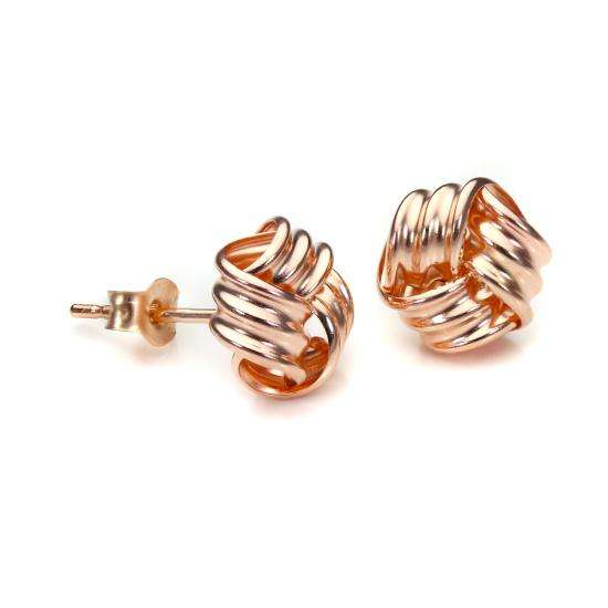 9ct Rose Gold 8mm Knot Stud Earrings