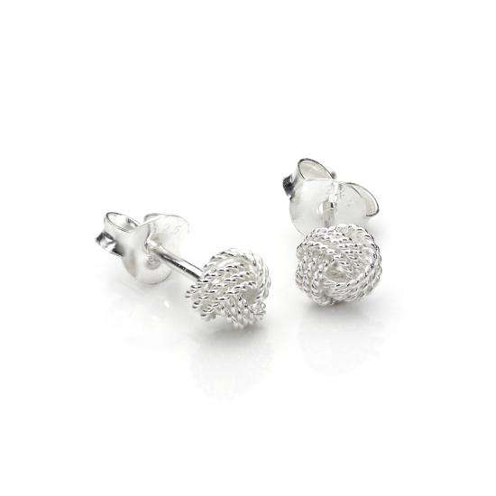 Sterling Silver 5mm Beaded Knot Stud Earrings