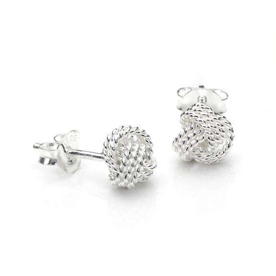 Sterling Silver 6mm Beaded Knot Stud Earrings