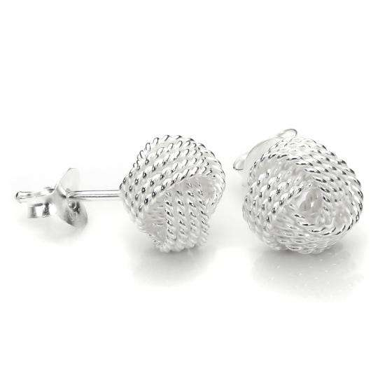Sterling Silver 8mm Beaded Knot Stud Earrings