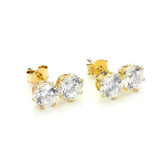 9ct Yellow Gold Clear Crystal Double Stud Earrings