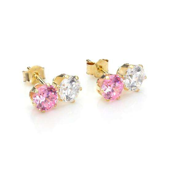 9ct Yellow Gold Pink Crystal Double Stud Earrings