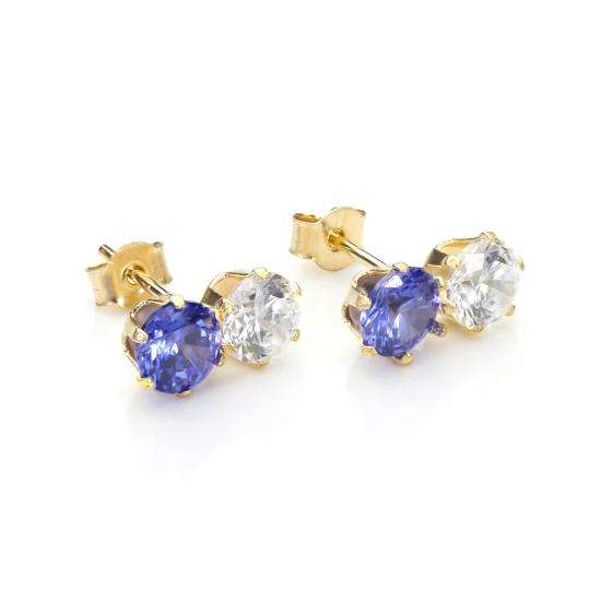 9ct Yellow Gold Tanzanite Crystal Double Stud Earrings