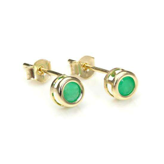 9ct Yellow Gold Emerald 4mm Stud Earrings