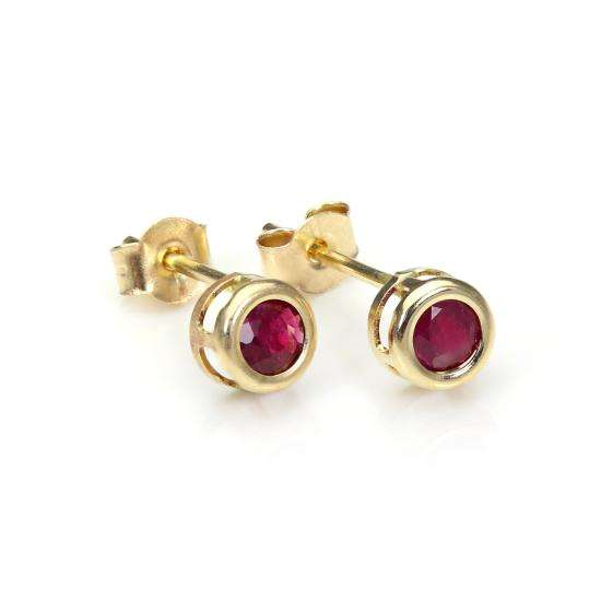 9ct Yellow Gold Ruby 4mm Stud Earrings