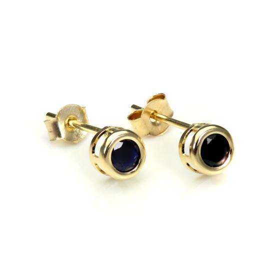 9ct Yellow Gold Sapphire 4mm Stud Earrings