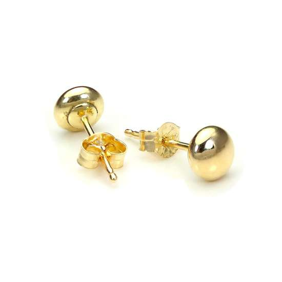 9ct Yellow Gold 4mm Plain Round Button Stud Earrings