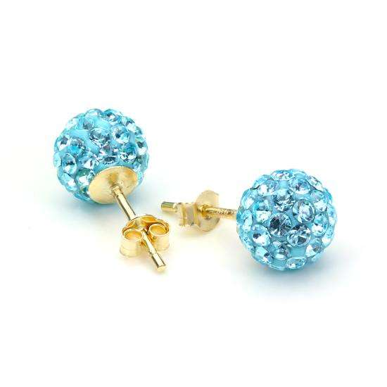 9ct Yellow Gold Blue Crystal 7mm Stud Earrings