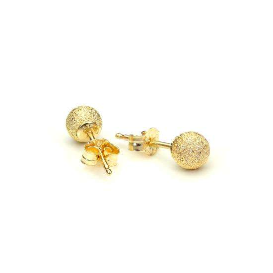 9ct Yellow Gold 4mm Frosted Ball Stud Earrings