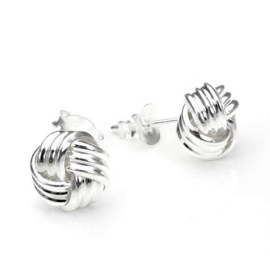 Sterling Silver 8mm 4-Strand Knot Stud Earrings