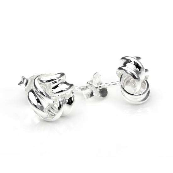Sterling Silver 8mm Solid Knot Stud Earrings