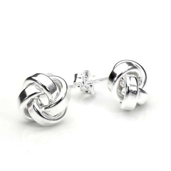 Sterling Silver 10mm Solid Knot Stud Earrings