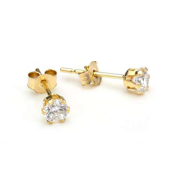 9ct Yellow Gold Crystal 3mm Round Stud Earrings
