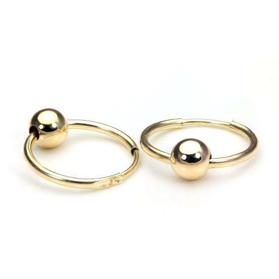 9ct Yellow Gold 14mm Ball Hoop Earrings