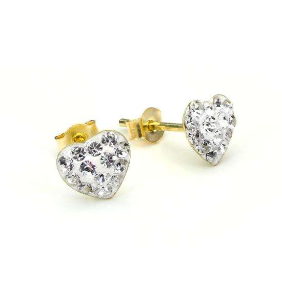 9ct Yellow Gold Clear Crystal Heart Stud Earrings
