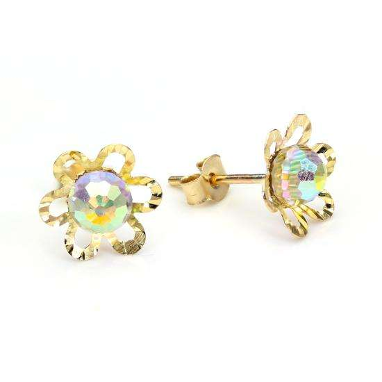 9ct Yellow Gold Aurora Borealis Crystal Flower Stud Earrings