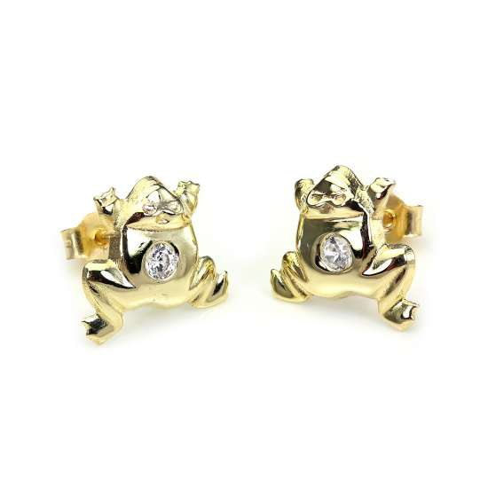 9ct Yellow Gold Clear Crystal Jumping Frog Stud Earrings