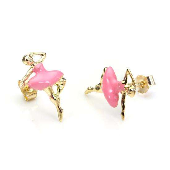 9ct Yellow Gold Pink Enamel Ballerina Stud Earrings