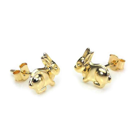 9ct Yellow Gold Bunny Rabbit Stud Earrings