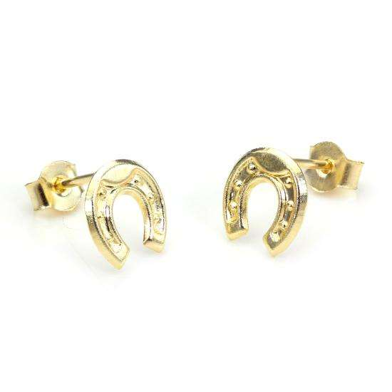 9ct Yellow Gold Horseshoe Stud Earrings