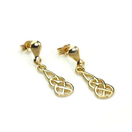 9ct Yellow Gold Celtic Knot Drop Earrings