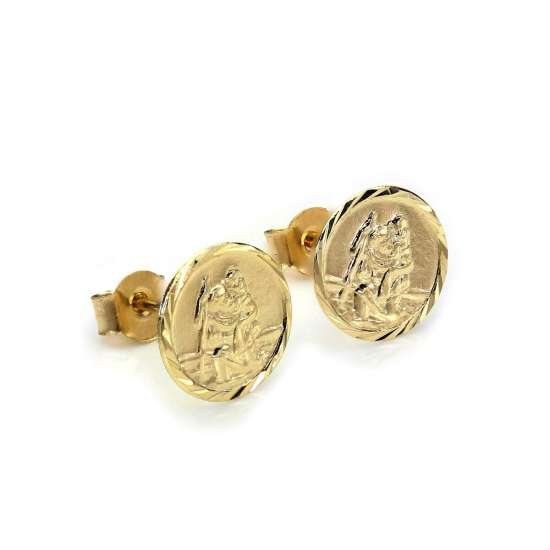 9ct Yellow Gold St Christopher Diamond Cut Stud Earrings