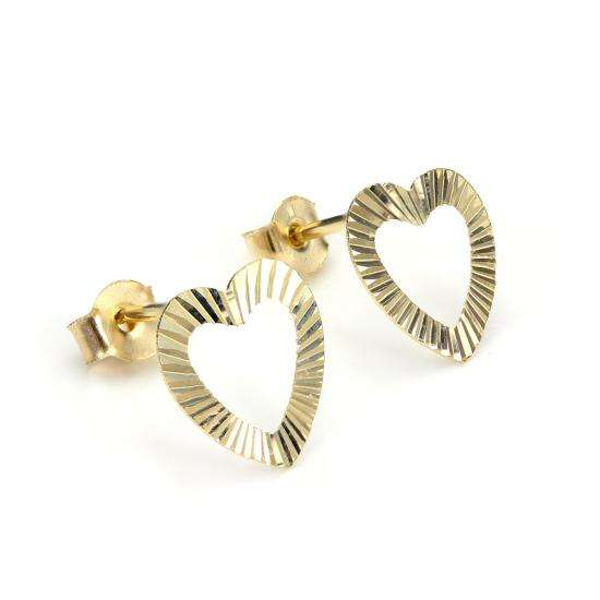 9ct Yellow Gold Diamond Cut Open Heart Stud Earrings