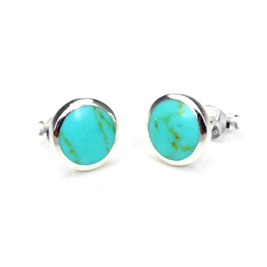 Sterling Silver Turquoise 9mm Round Stud Earrings
