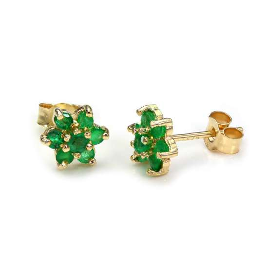 9ct Yellow Gold Emerald Flower Petal Stud Earrings
