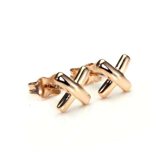 9ct Rose Gold Raised Kiss Stud Earrings
