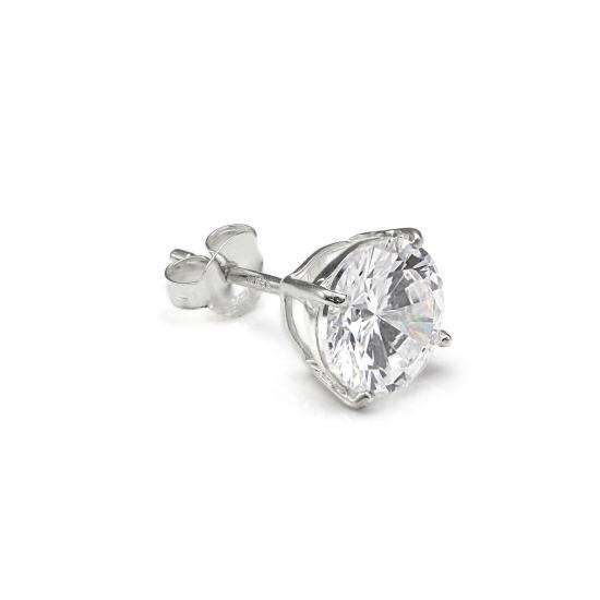 Sterling Silver Round 8mm Clear CZ Crystal Mens Ear Stud
