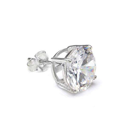 Sterling Silver Round 10mm Clear CZ Crystal Mens Ear Stud
