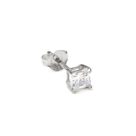 Sterling Silver Square 4mm Clear CZ Crystal Mens Ear Stud