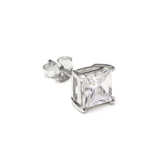 Sterling Silver Square 6mm Clear CZ Crystal Mens Ear Stud