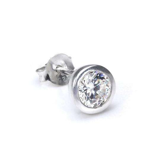 Sterling Silver 7mm Round Clear CZ Crystal Rubover Mens Ear Stud