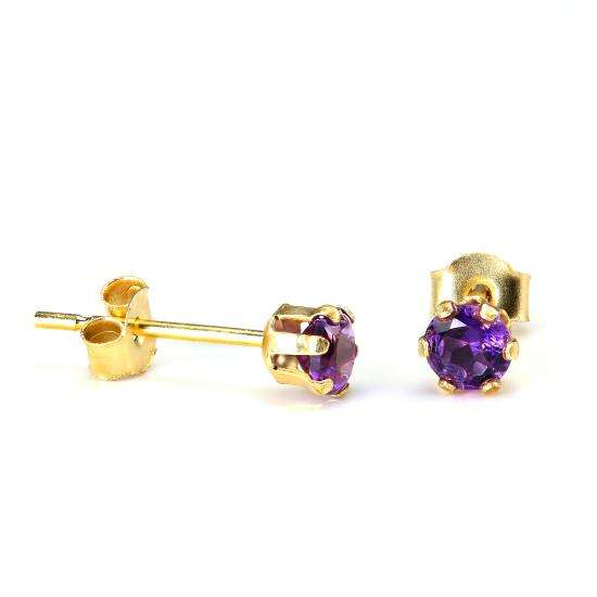 9ct Gold & 3mm Round Amethyst Gemstone Stud Earrings