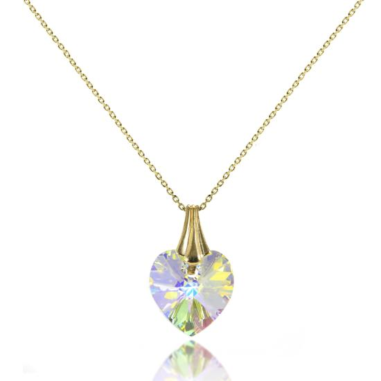 9ct Gold & Aurora Borealis CZ Crystal Heart Pendant / Necklace