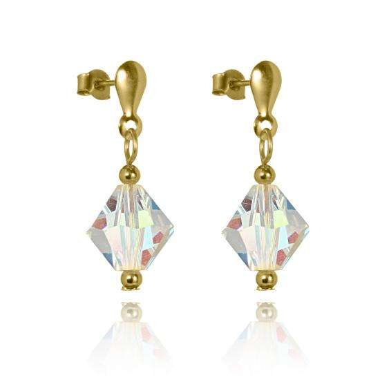 9ct Gold & Aurora Borealis Crystal Drop Stud Earrings