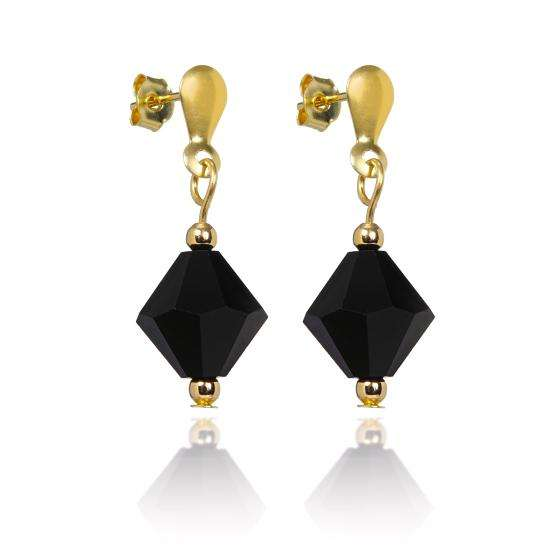 9ct Gold & Black Crystal Drop Stud Earrings