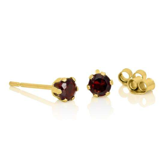 9ct Gold & 3mm Round Garnet Gemstone Stud Earrings