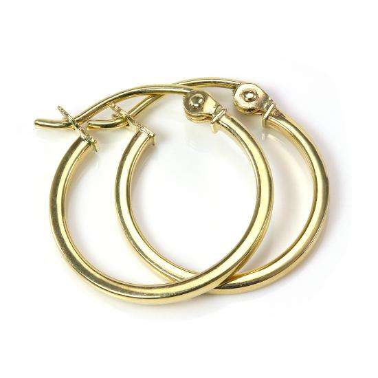 14mm 9ct Gold Square Tube Sleeper Hoop Creole Earrings