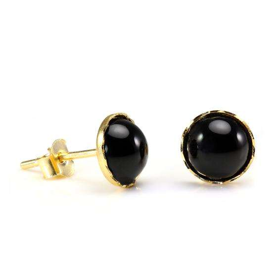 9ct Gold & Onyx 6mm Round Gemstone Stud Earrings