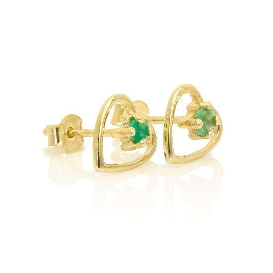 9ct Gold & 2mm Emerald Gemstone Open Heart Stud Earrings